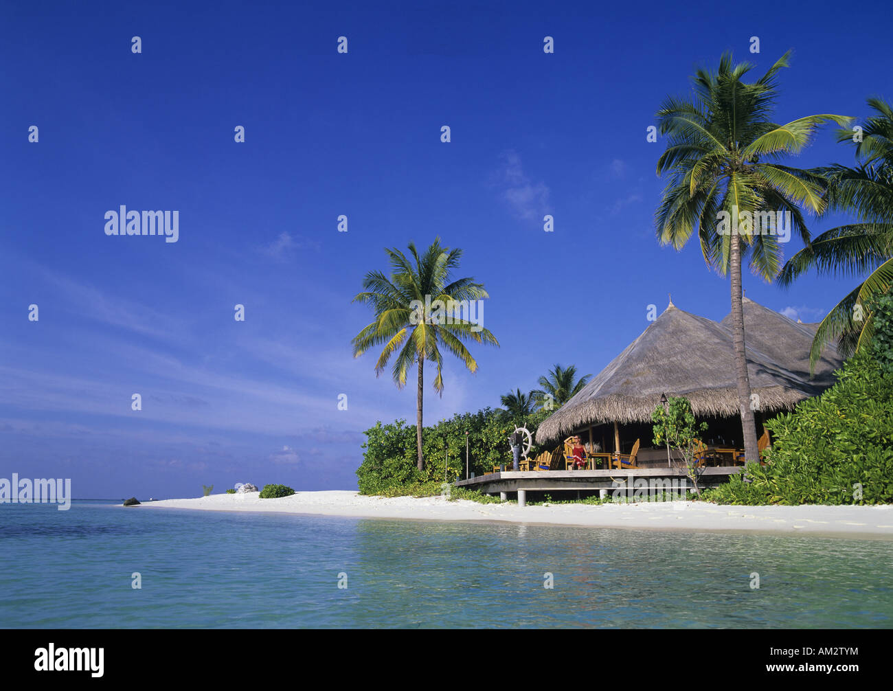 geography / travel, Maledives, Kuda Huraa Island, beach restaurant with palm trees, Additional-Rights-Clearance - Stock Image
