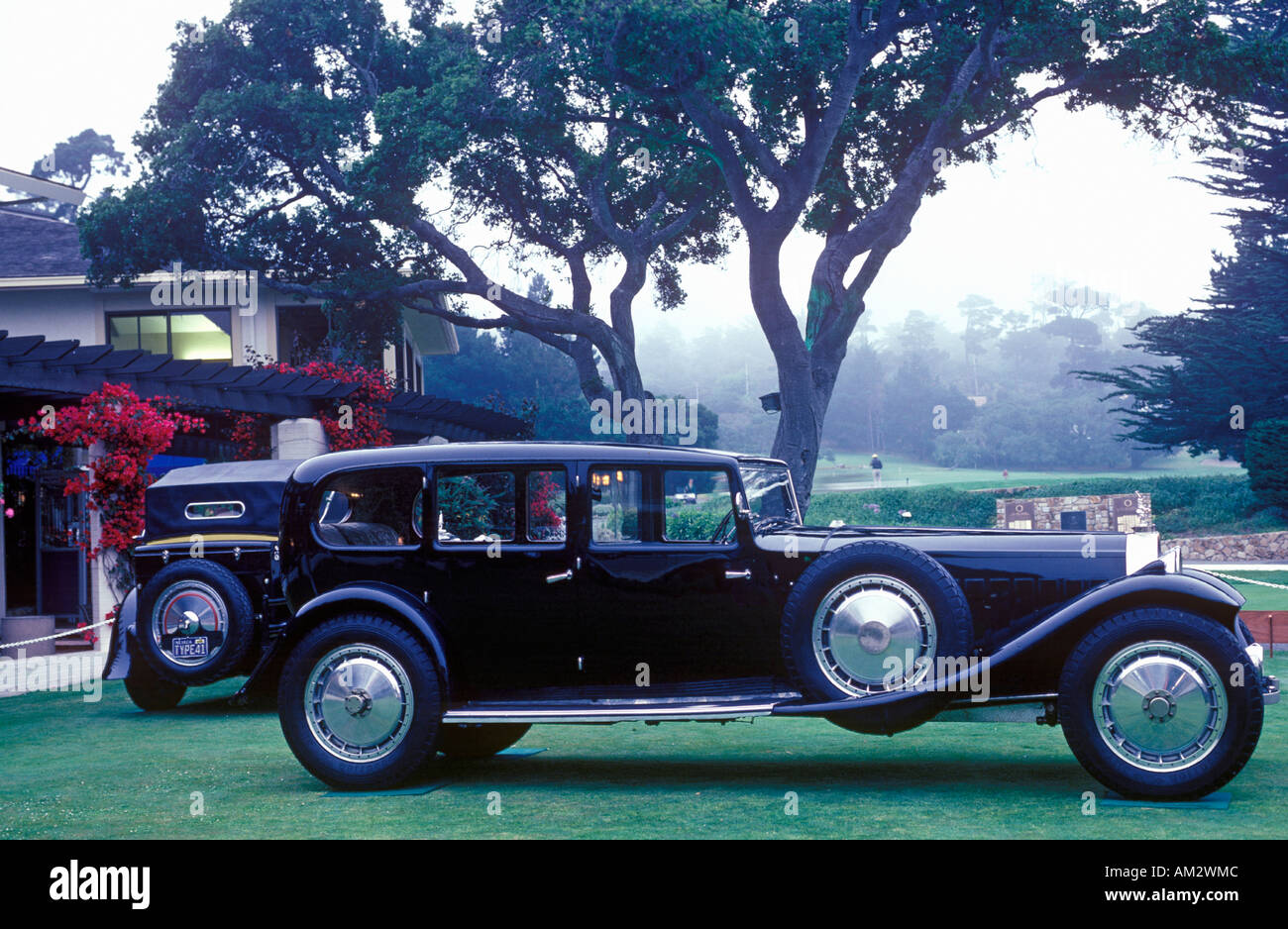 An elongated Bugatti on display at the 35th Pebble Beach Concours D Ellegance 6 Bugatti Royales - Stock Image