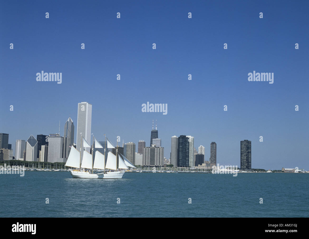 geography / travel, USA, Illinois, Chicago, city views / cityscapes, skyline, view from Adler Planetarium, Additional - Stock Image