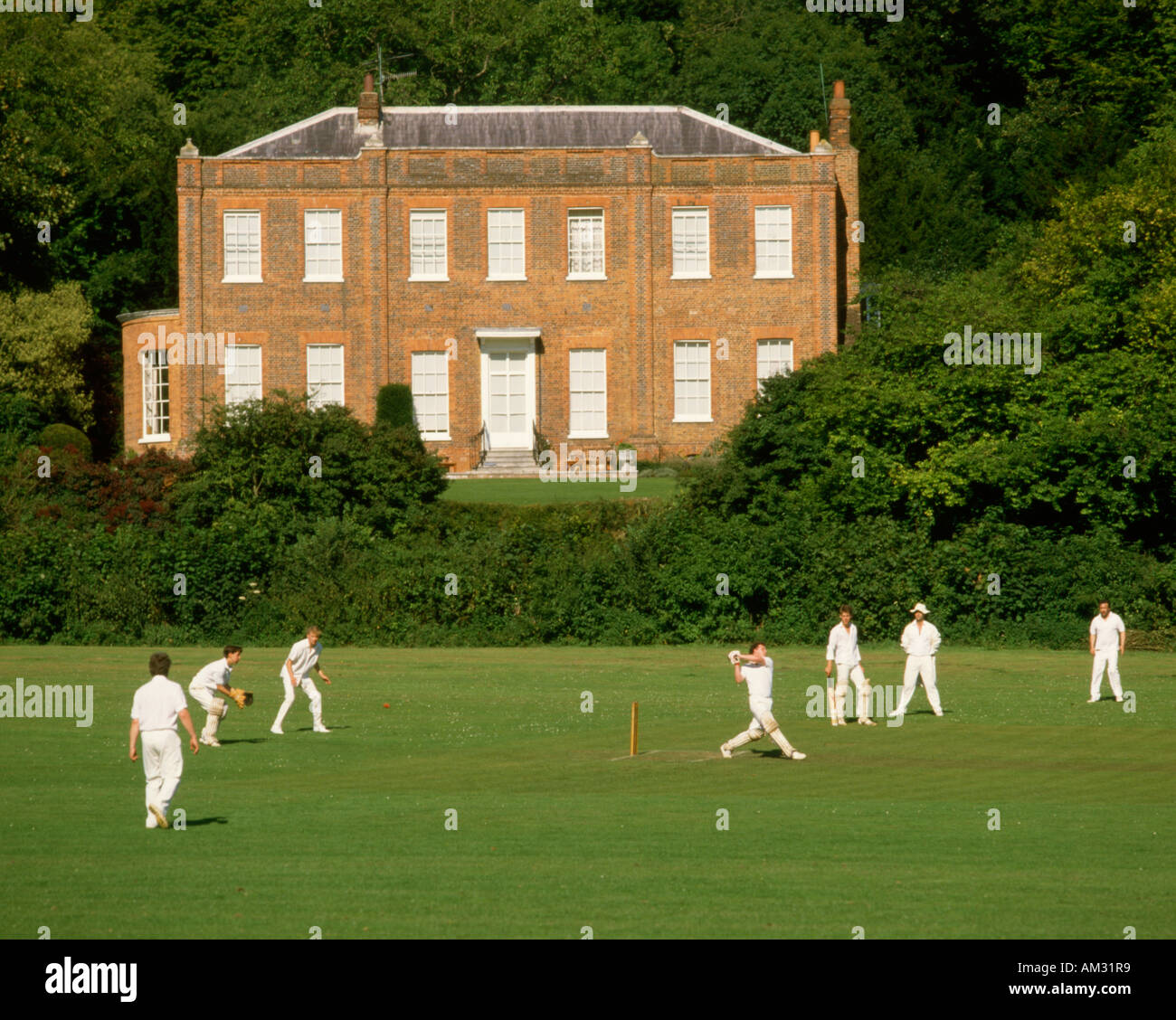 England. Buckinghamshire. Hambleden. Cricket match - Stock Image