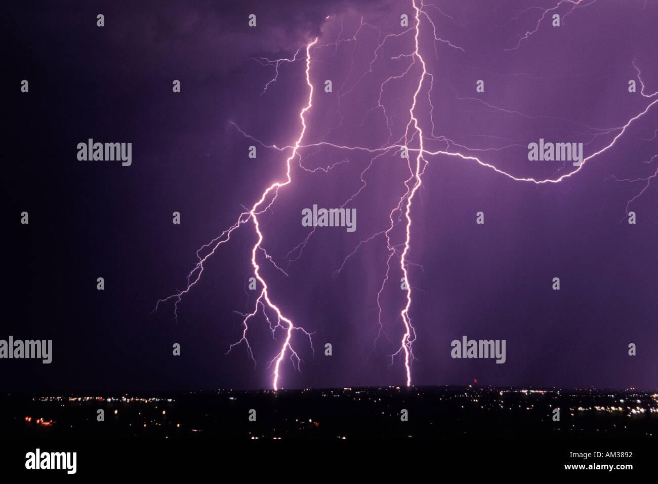 multiple lightning strikes over tucson arizona stock photo 1325201