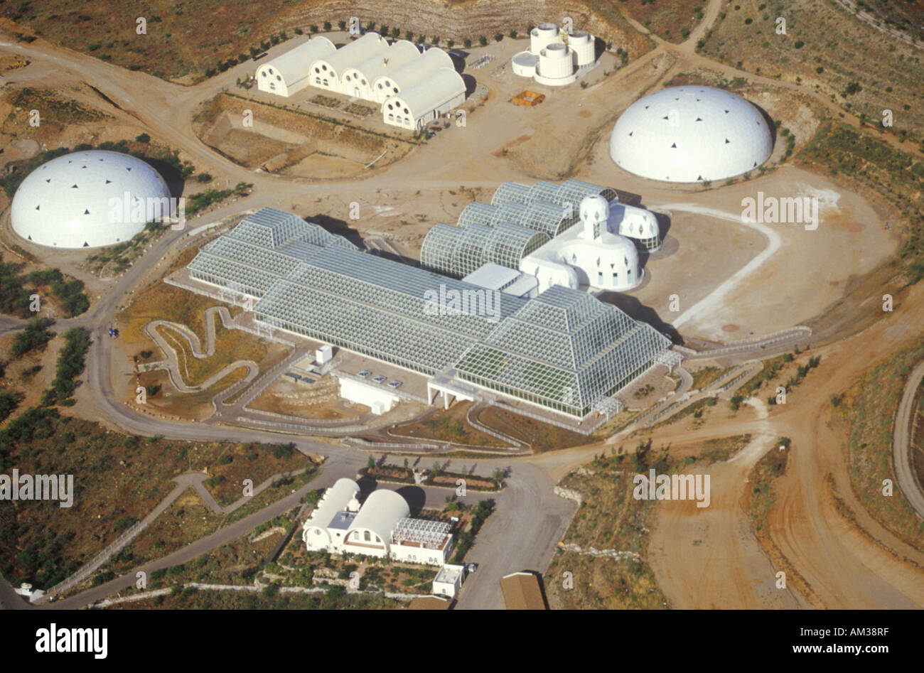 Aerial view of the enclosed ecosystem of Biosphere 2 at Oracle in Tucson AZ - Stock Image