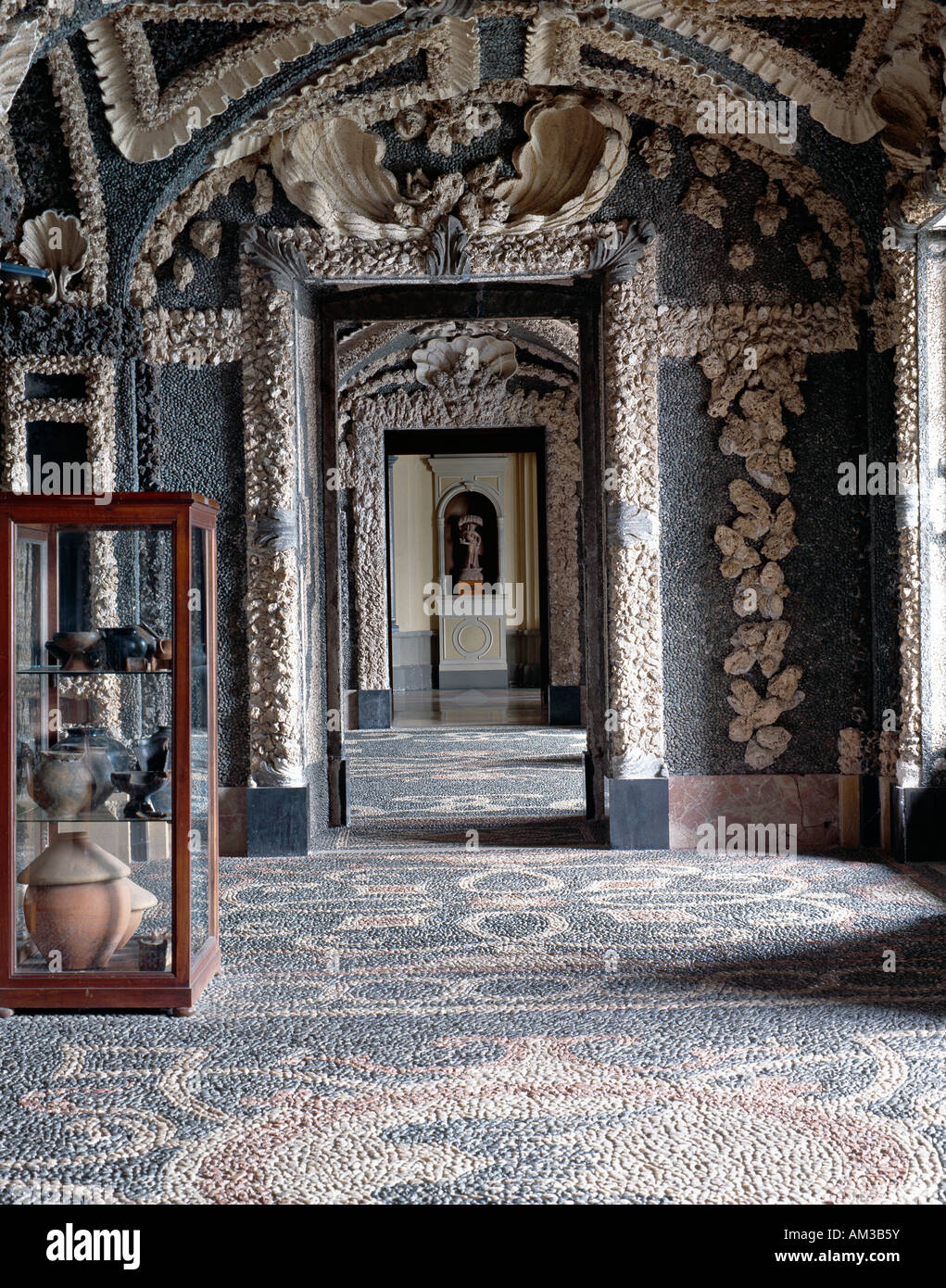 The Baroque island palace and garden of Isola Bella, Lake Maggiore, Italy. The underground museum of curiosities - Stock Image