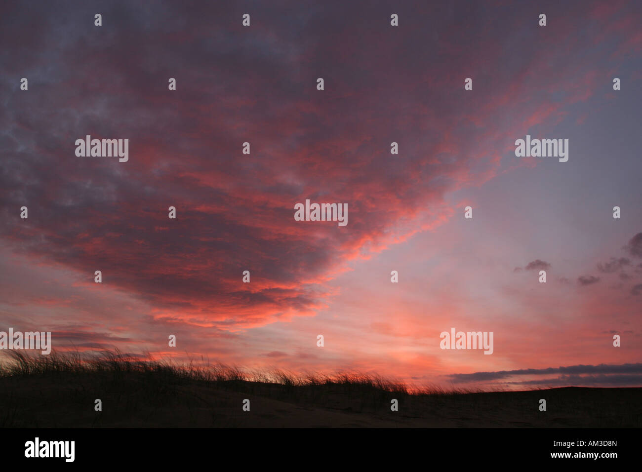 Red sky in the morning shepherds warning Stock Photo