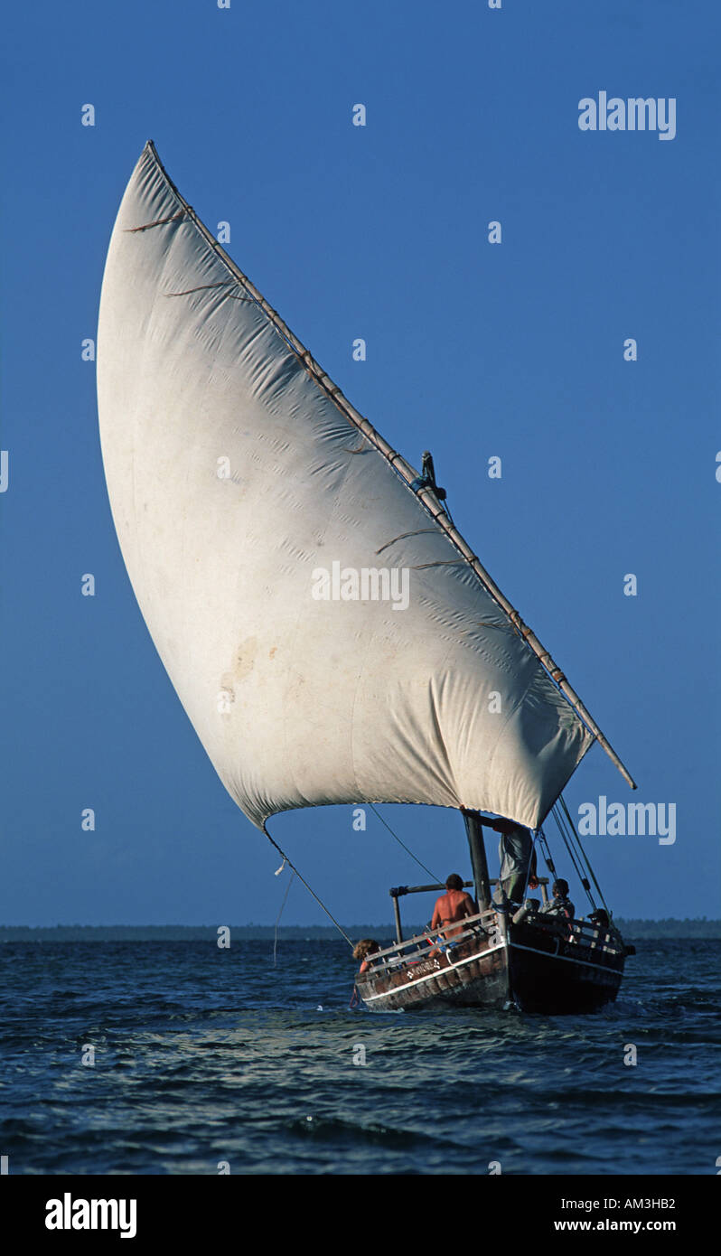 Sailing dhow excursion boat for visitors to the Chole Lodge on Chole island adjacent to Mafia island Tanzania East Africa - Stock Image