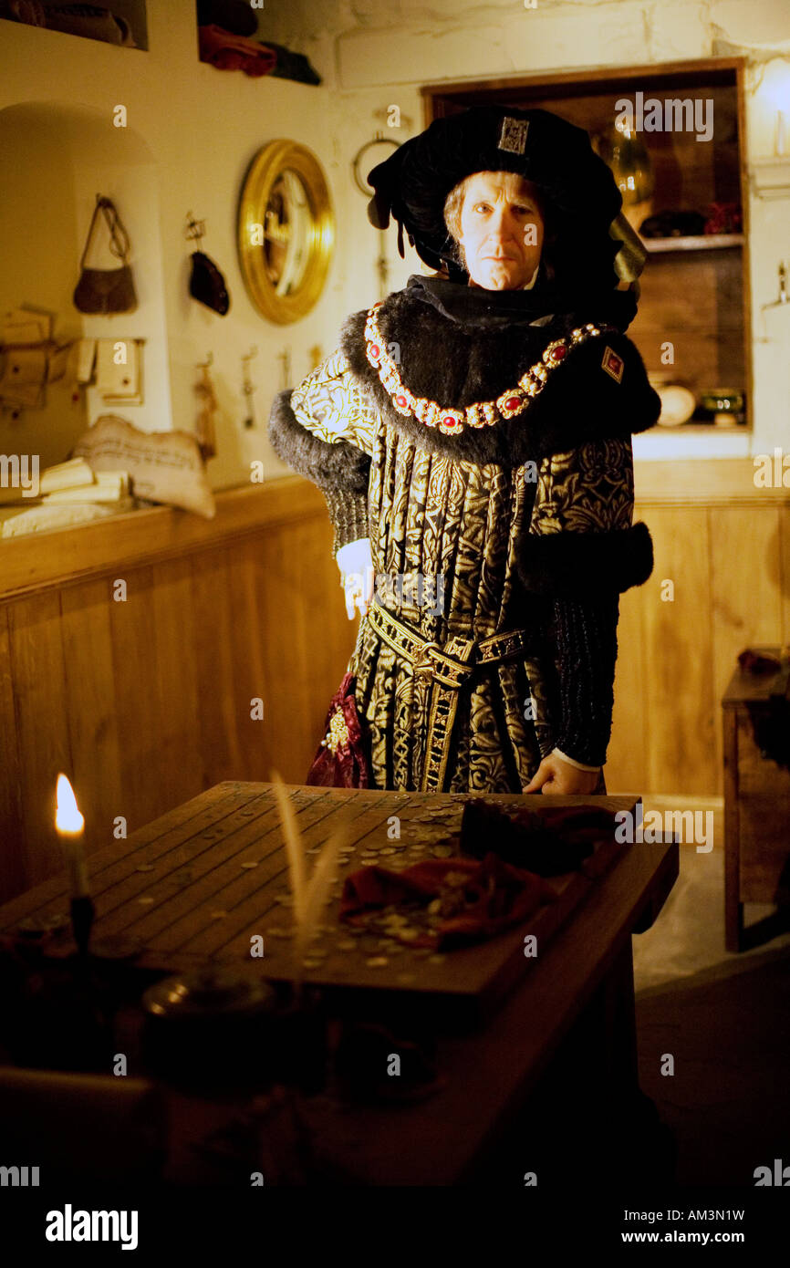 Wax works of Money Lender at Warwick castle - Stock Image