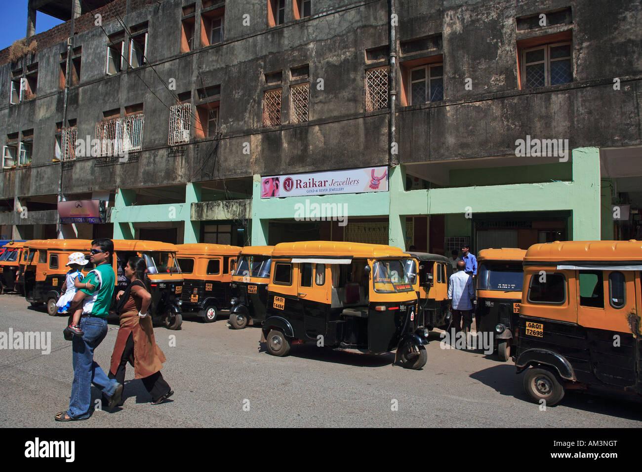 india goa panaji tut tuts lined up in the street - Stock Image