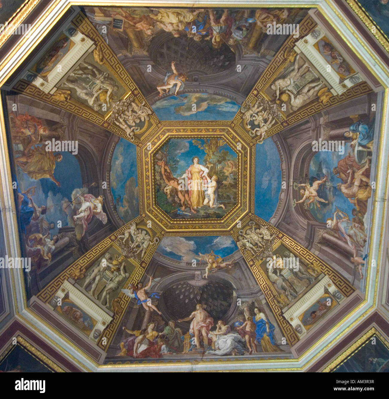 The ceiling of the Sala Delle Muse Room of the Muses Vatican Museum Rome Italy - Stock Image