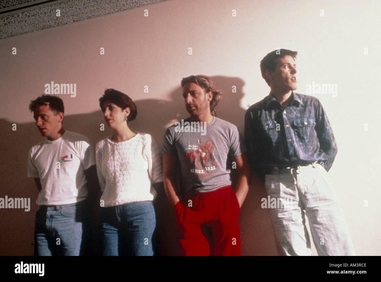 NEW ORDER  UK group from left Bernard Sumner, Gillian Gilbert, Pter Hook, Stephen Morris - Stock Image