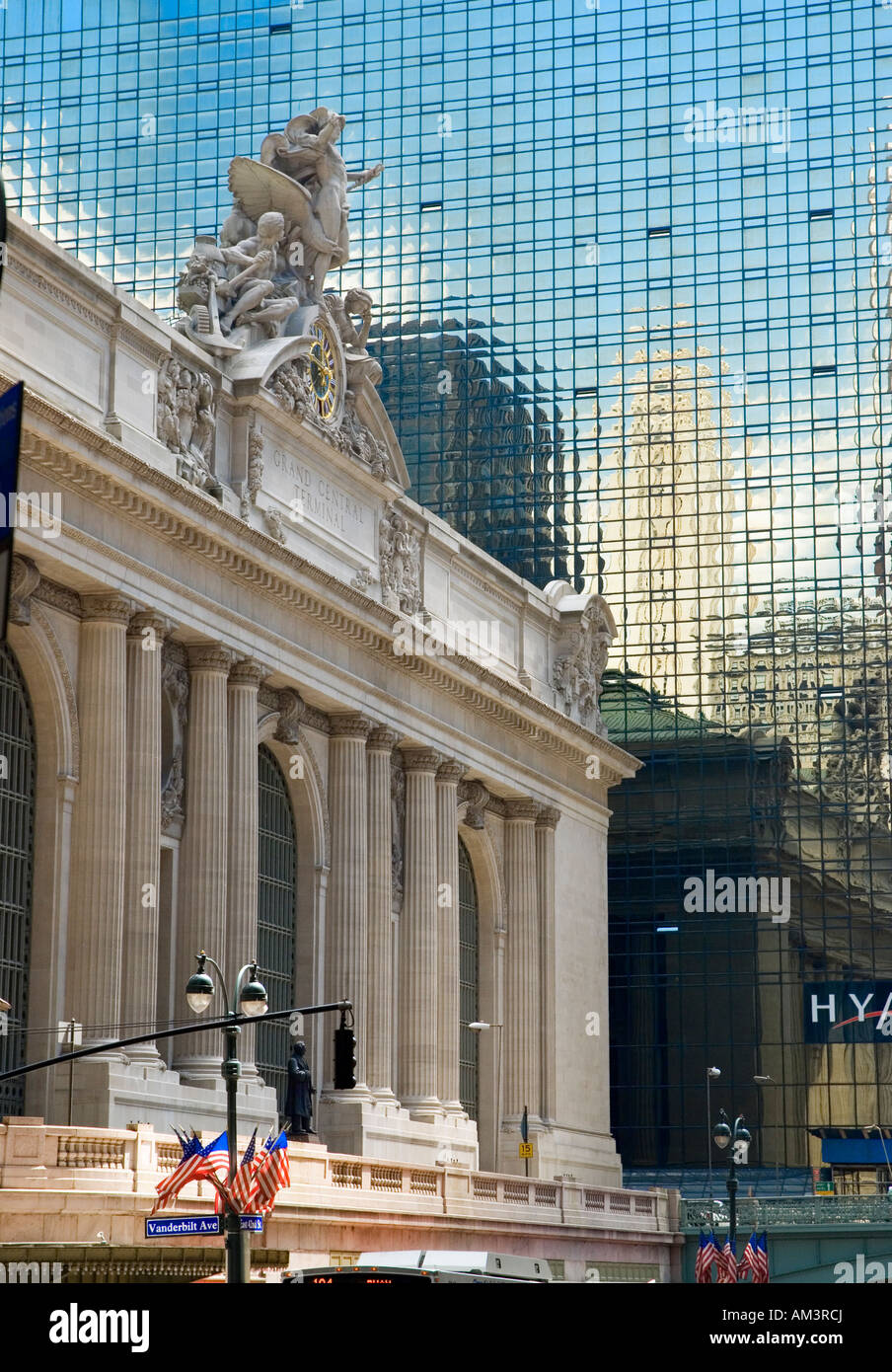 Grand Central Station with the Hyatt Hotel in New York City - Stock Image