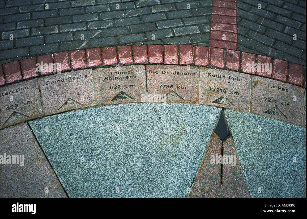 St Johns Newfoundland, Canada. Compass pointing to south Pole and wreck of the SS Titanic. - Stock Image