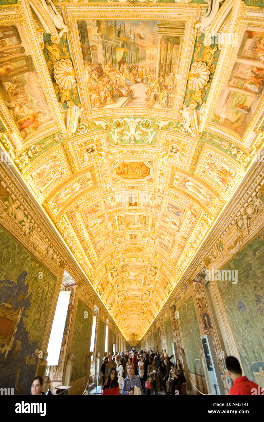 The Gallery of Maps in the Vatican Museum Rome Italy - Stock Image