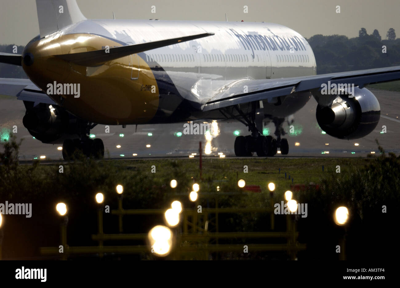 A Monarch Airways Jet plane prepares for takeoff from London Gatwick airport - Stock Image