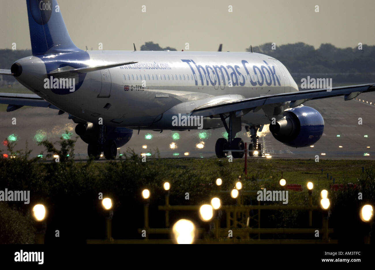 A Thomas Cook Airways Jet plane prepares for takeoff from London Gatwick airport - Stock Image