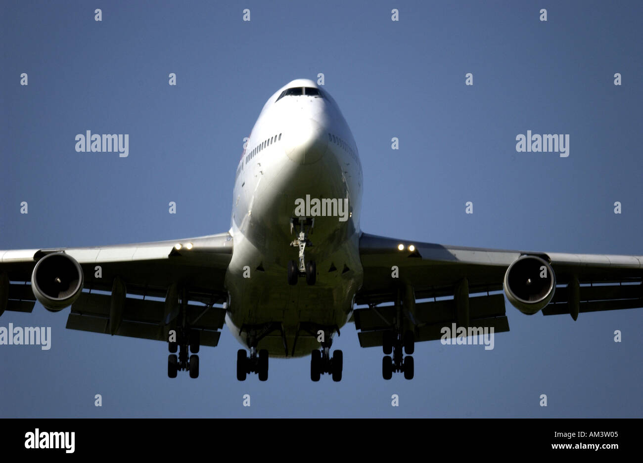 A Virgin Atlantic Airways Boeing 747 Jumbo Jet comes into land at London Gatwick Airport - Stock Image