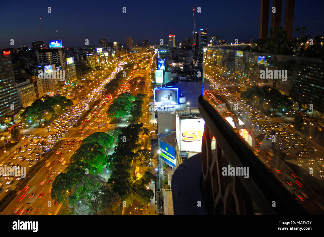 The Avenida 9th July in Buenos Aires - Stock Image