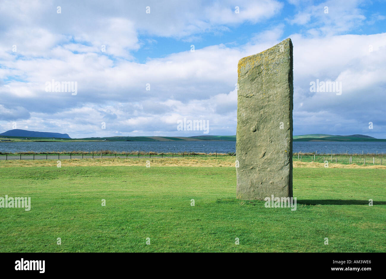 single stone at Standing stones of Stenness neolithic monument, Orkney, Scotland - Stock Image