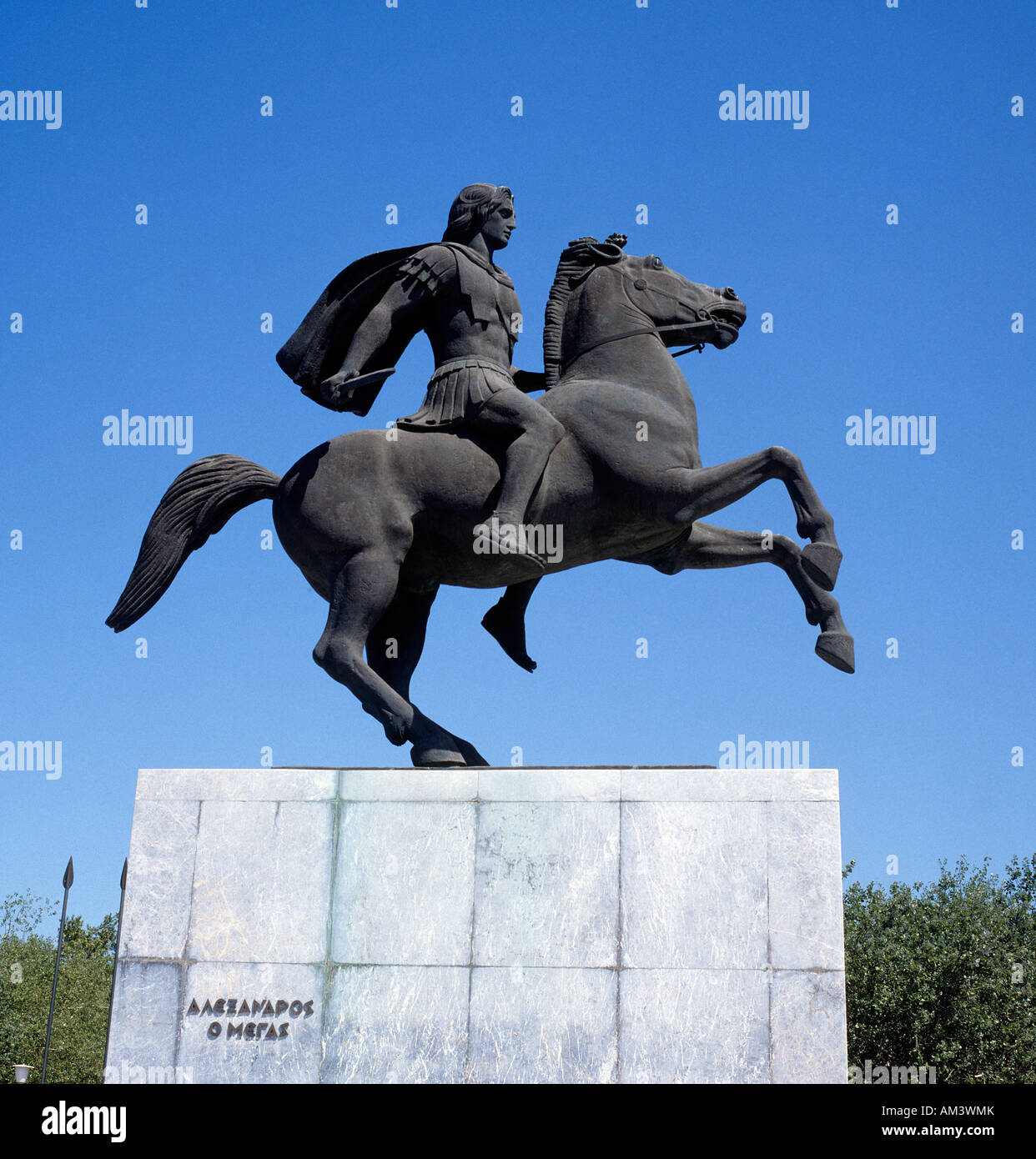 Equestrian Statue of Alexander the Great at Thessaloniki Greece - Stock Image