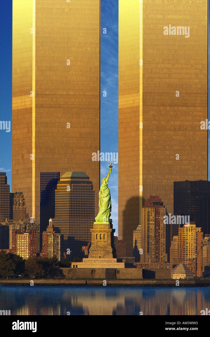 Enlarged World Trade Center behind Statue of Liberty - Stock Image