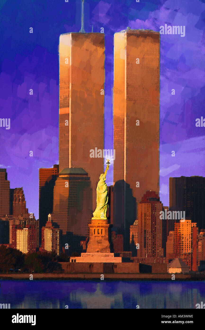 Photo Impression World Trade Center behind Statue of Liberty - Stock Image