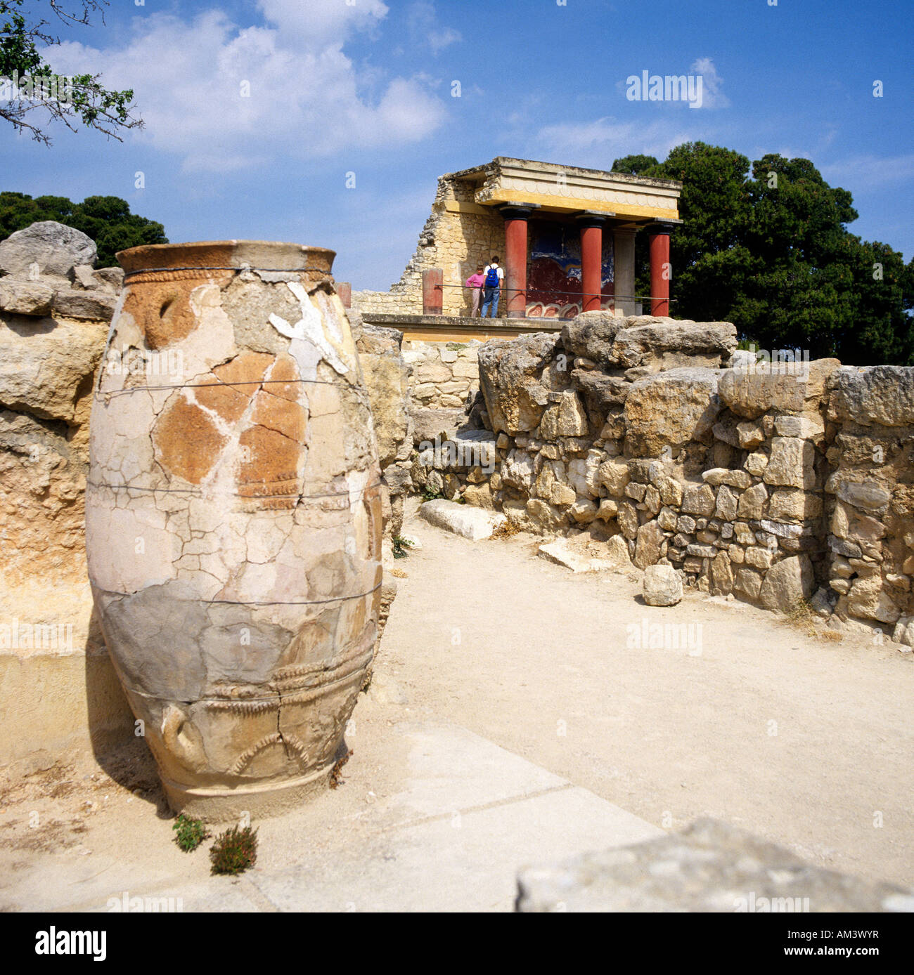 Temple and excavations of Knossos in Crete Greece - Stock Image