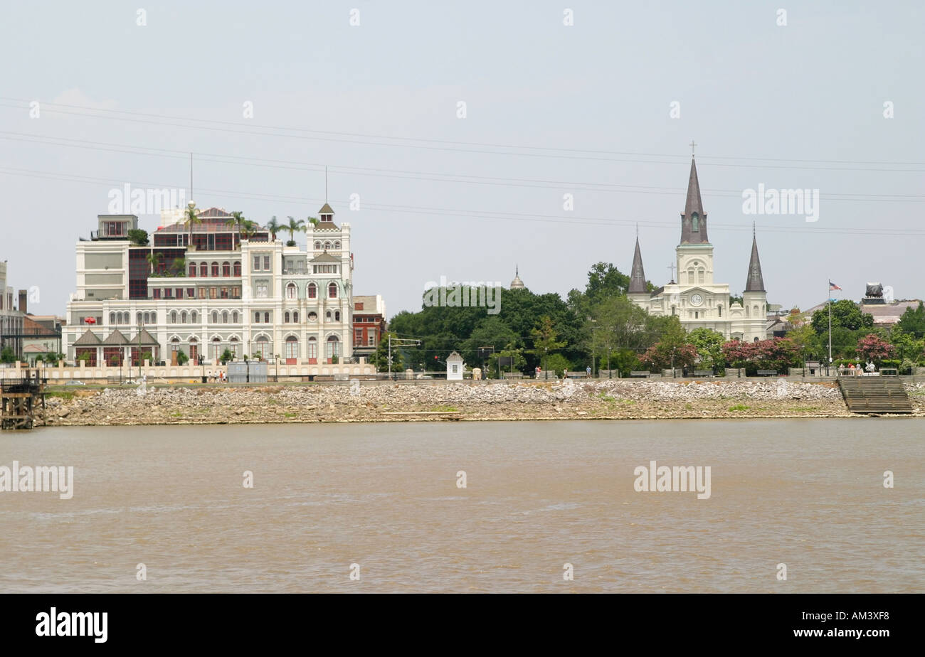 View Of Jackson Square From Mississippi River New Orleans La Stock