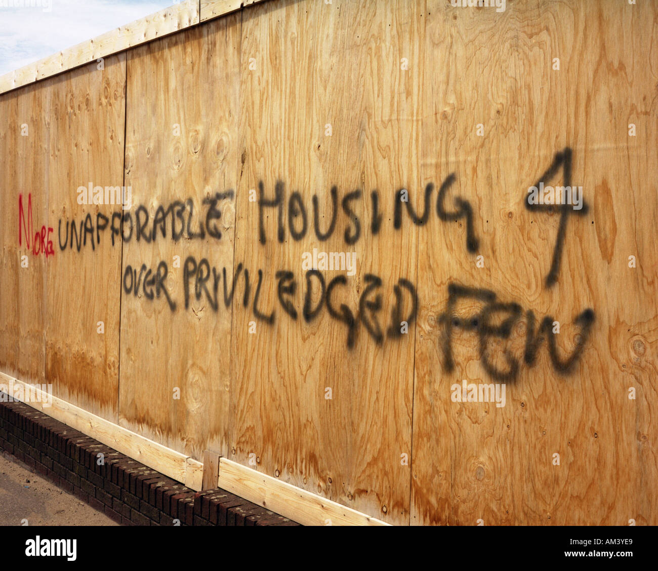Graffitti on property boards - Stock Image