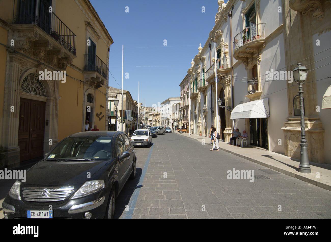 Palazzo Judaica palace of justice Palazzolo Acreide on the Monti Iblei Province of Syracuse Sicily Italy Stock Photo