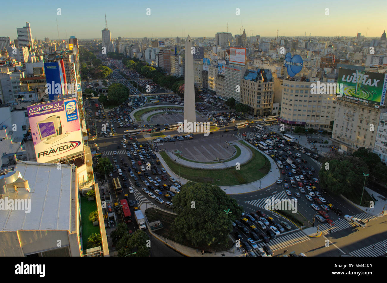 Avenida 9th July and the Obelisco in Buenos Aires - Stock Image