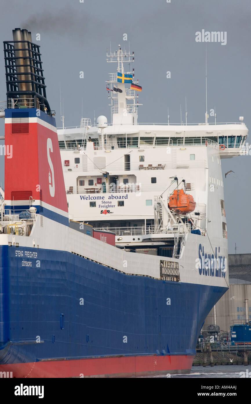 A Stena Line ro/ro-vessel maneuvering at the port of Travemünde