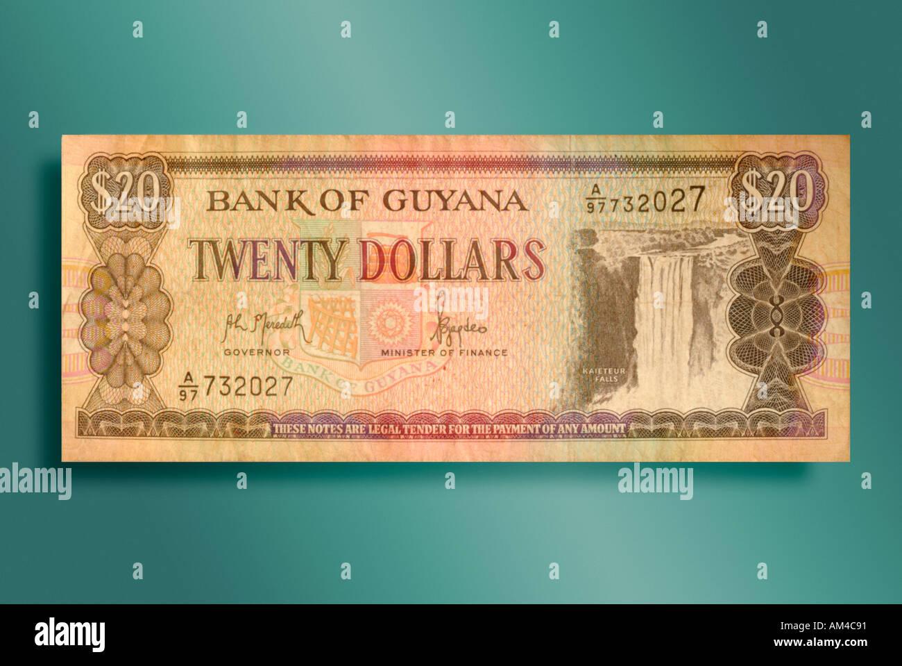 20 dollar bill from Guyana - Stock Image