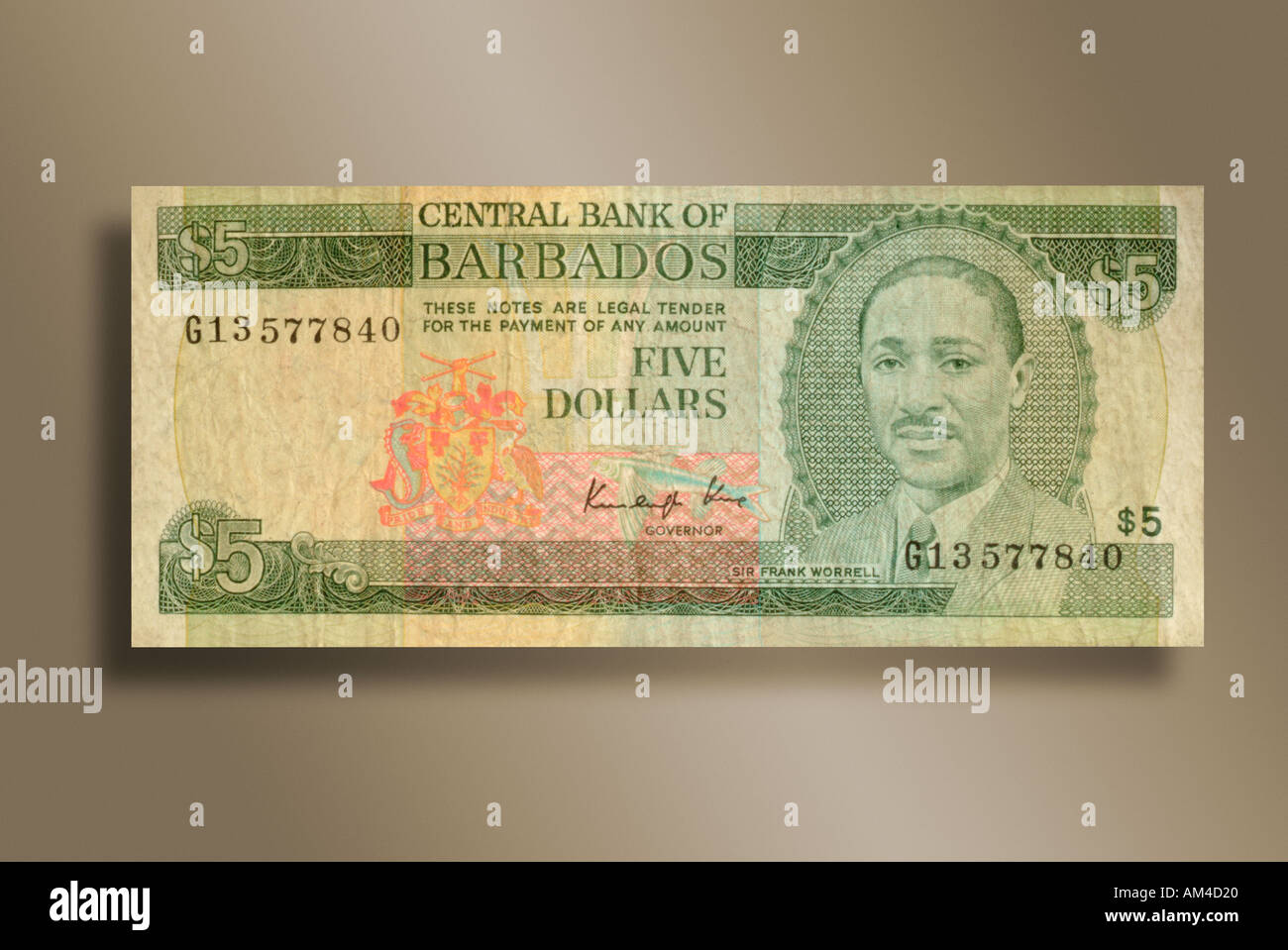 5 Dollar Bill From The Island Nation Barbados