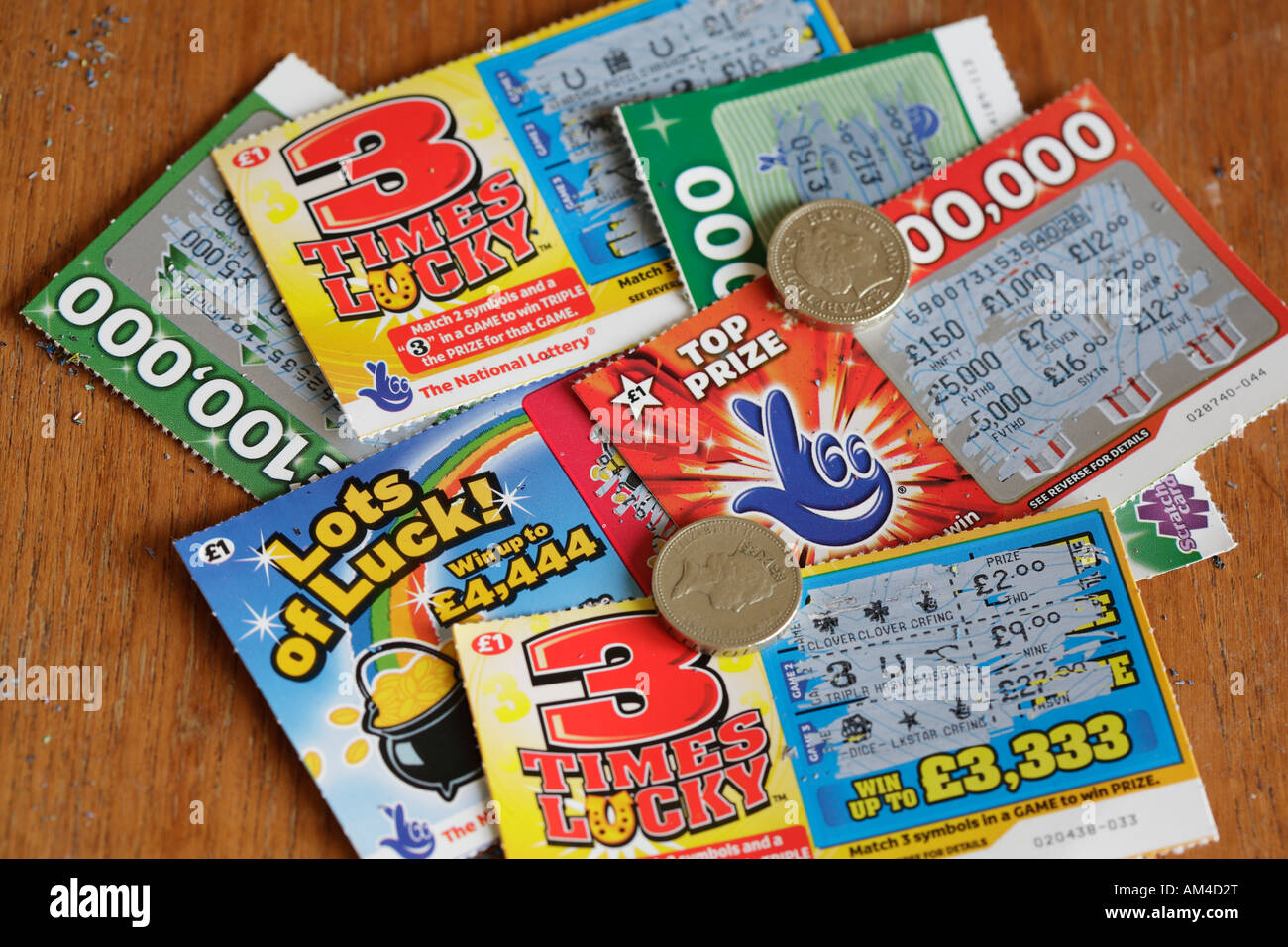 National Lottery/Lotto scratch cards Stock Photo - Alamy