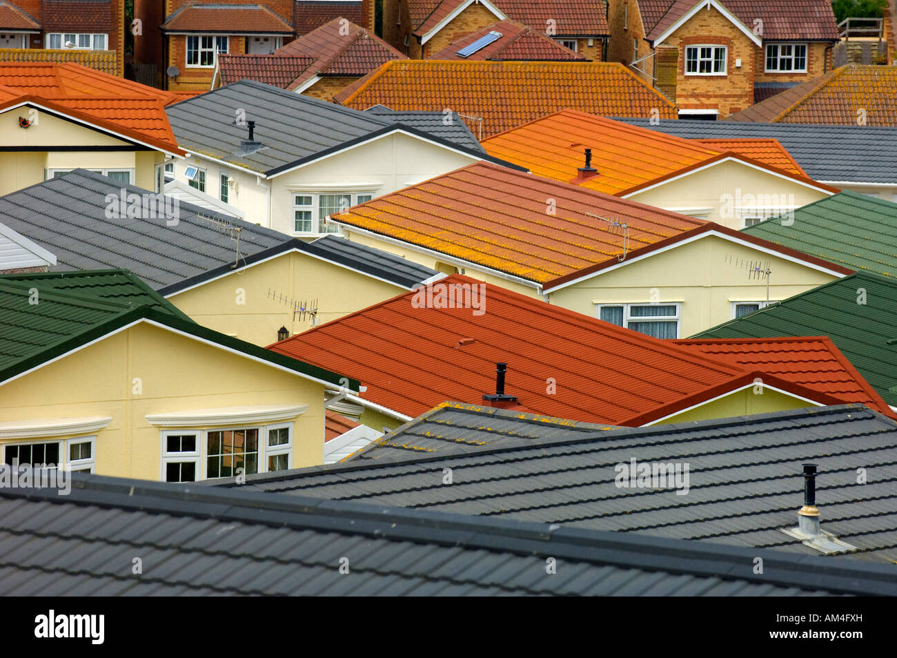 A view across the roof tops of a mobile home park. Picture by Jim Holden. - Stock Image