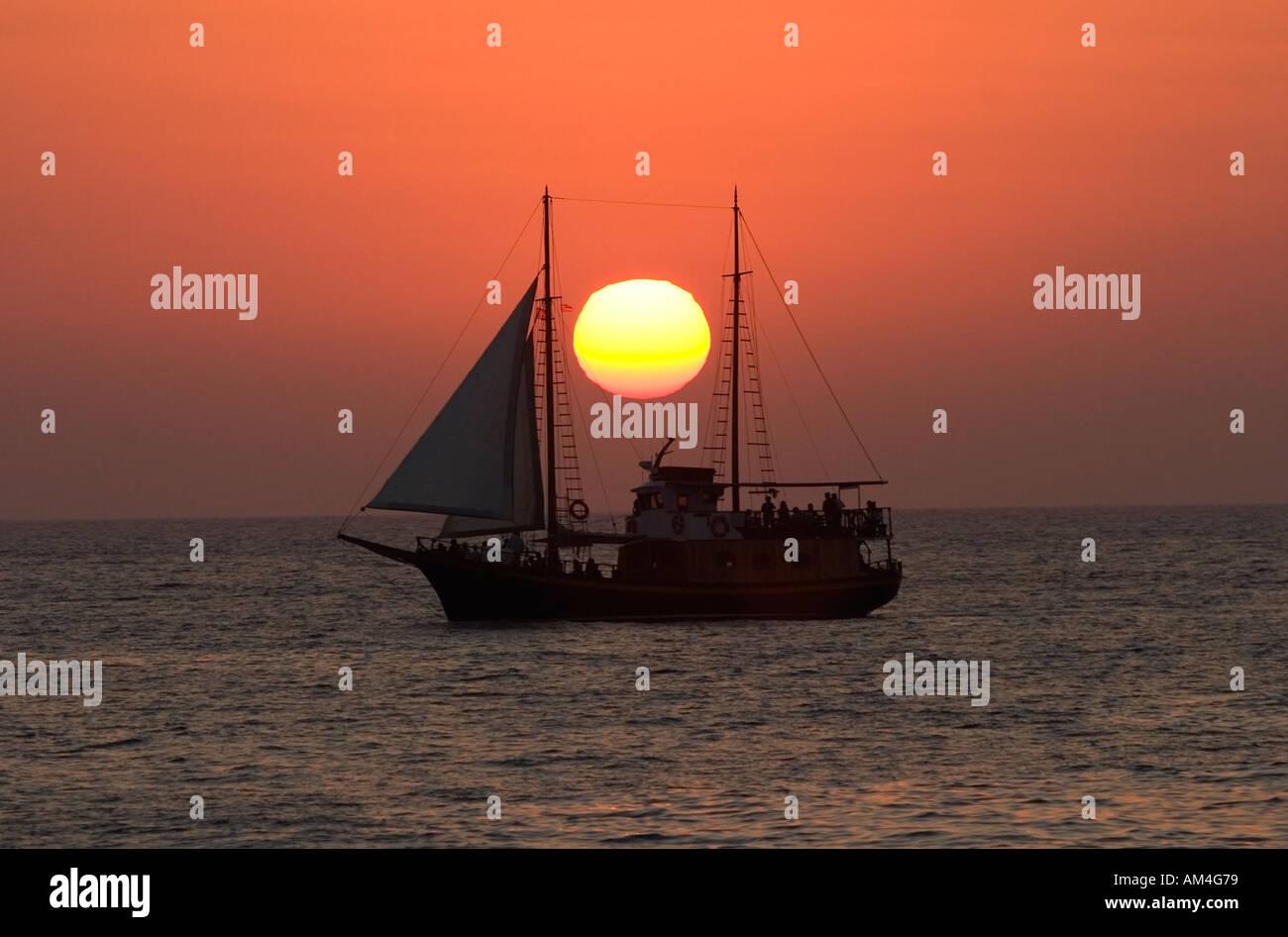 Santorini sunset - Stock Image