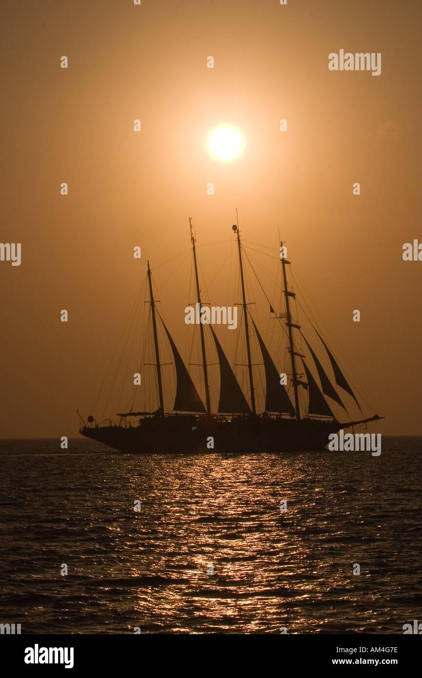 Sanorini sunset - Stock Image