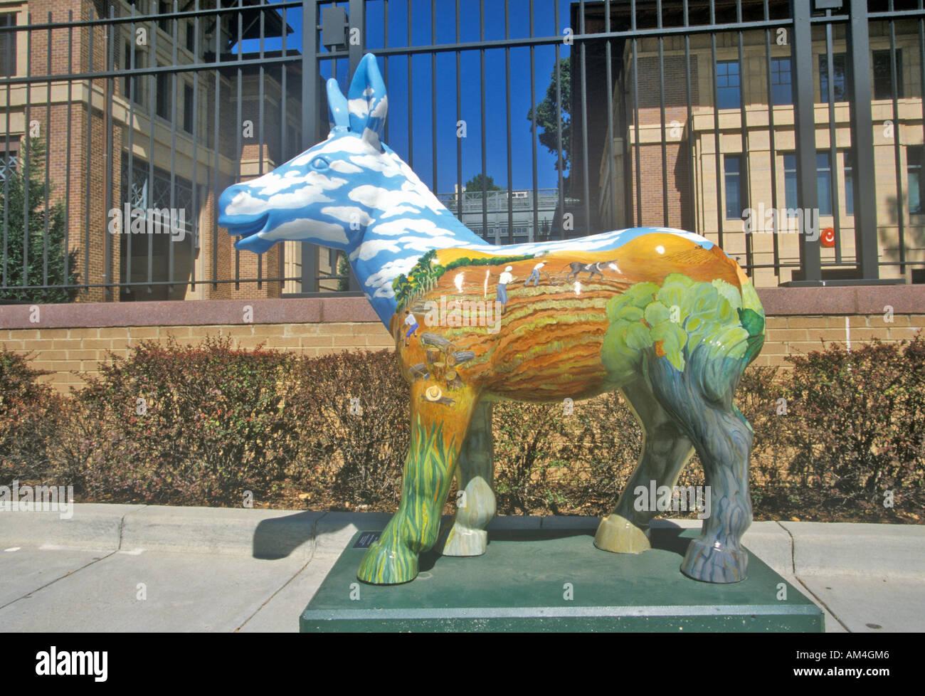Democrat Donkey public art in Washington DC - Stock Image