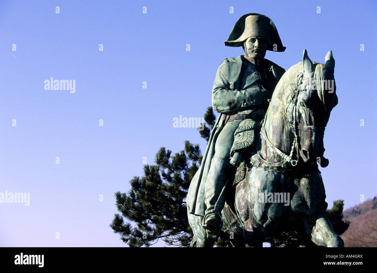 France, Isere, equestrian statue of Napoleon 1rst (Fremiet Bronze) in the Prairie de la Rencontre along the Route - Stock Image