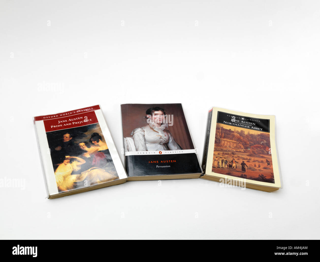 Three Novels by Jane Austin Pride and Prejudice Northanger Abbey and Persuasion - Stock Image