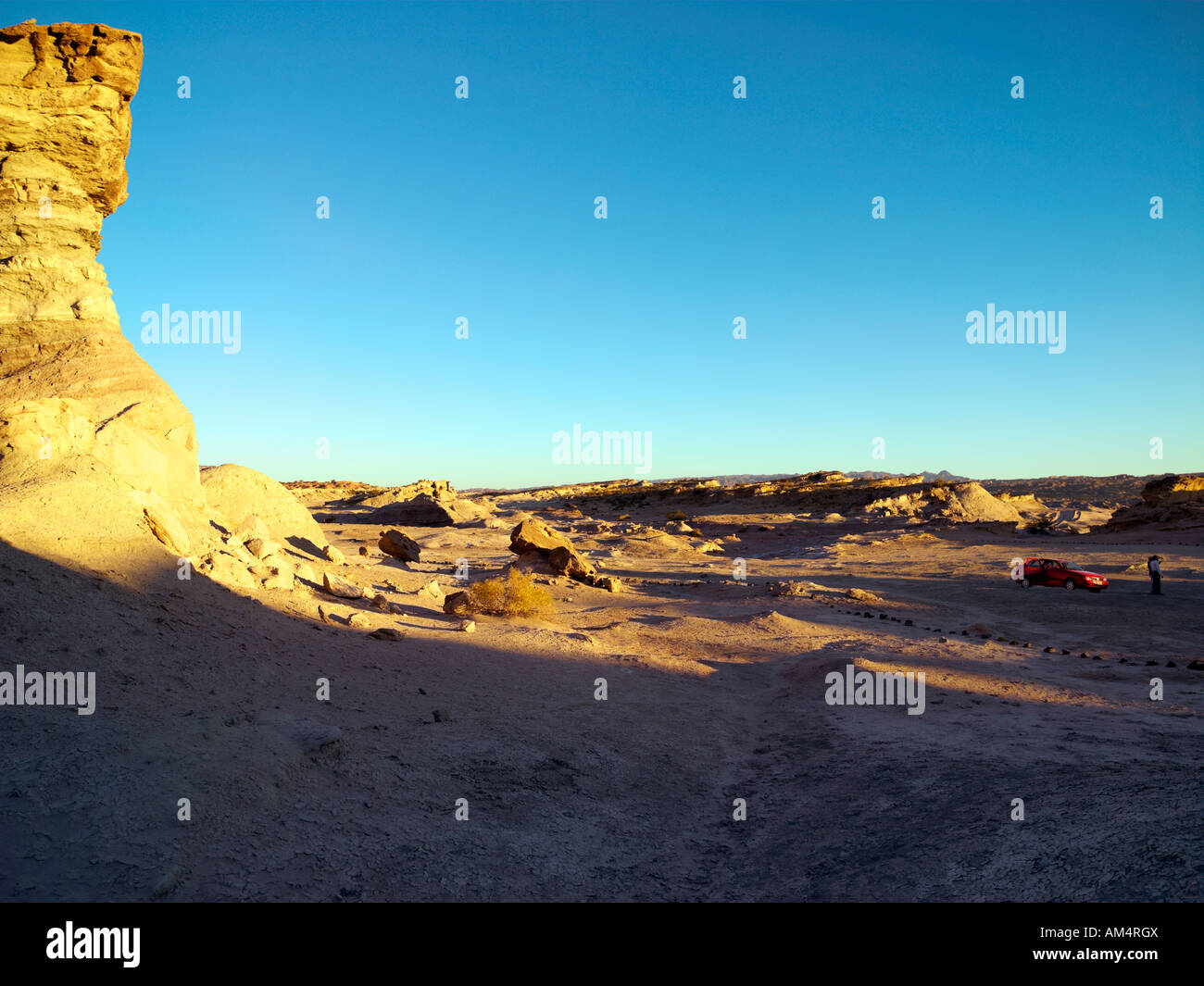Dusk settling over the rock structure called 'The Mushroom' in Ischigualasto Provincial park, San Juan, - Stock Image