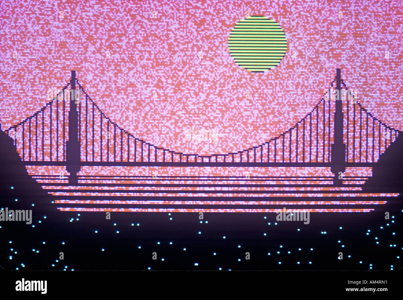 Computer graphics rendition of the Bay Bridge San Francisco California - Stock Image