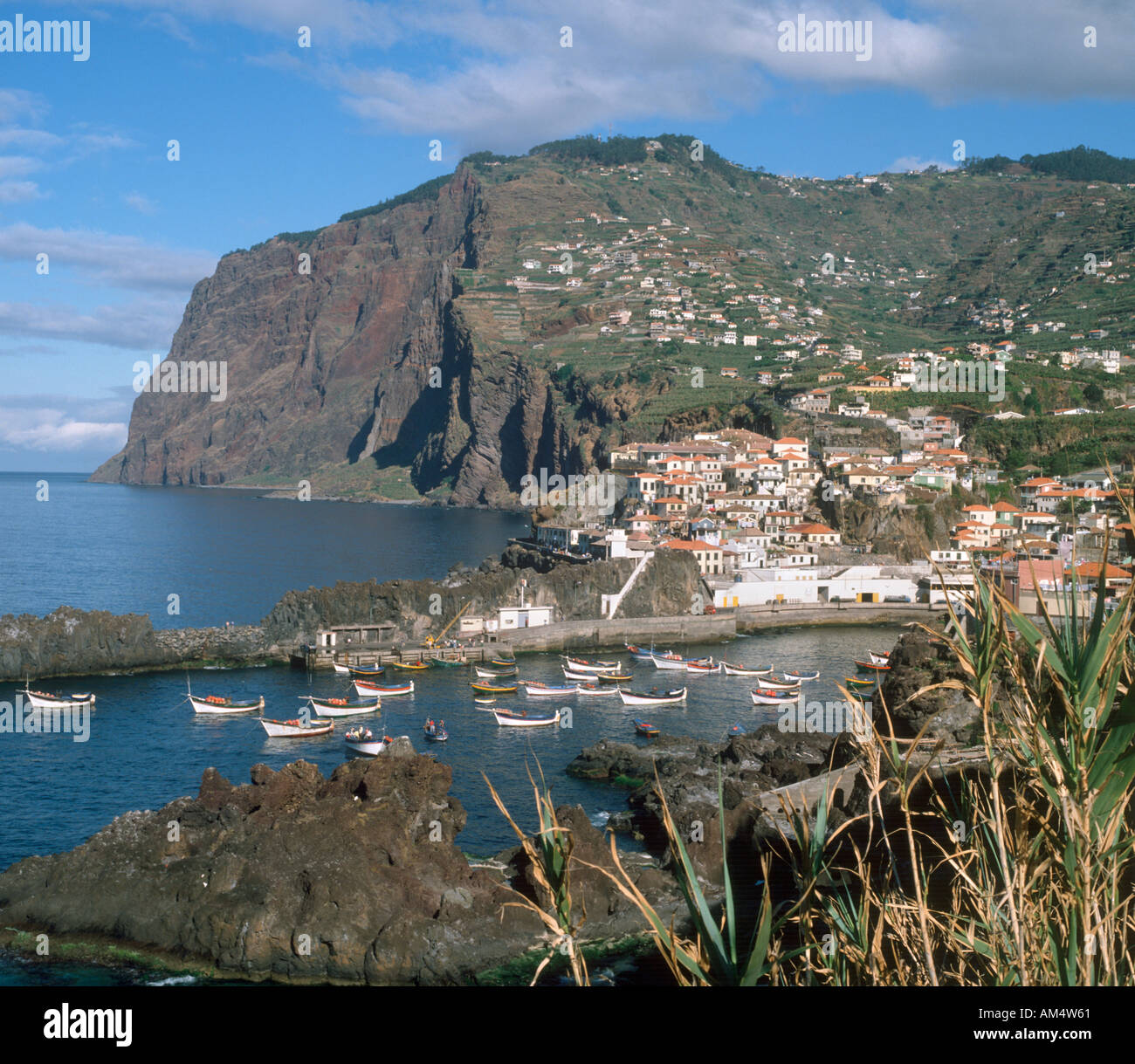 The south coast fishing village of Camara de Lobos (where Winston Churchill used to paint),  Madeira, Portugal - Stock Image