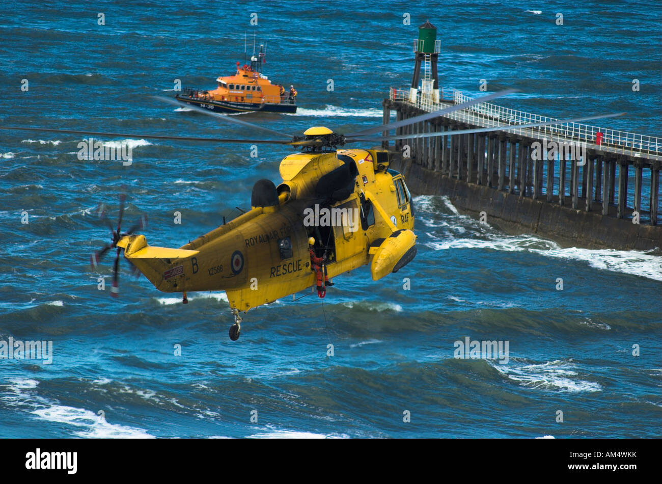 RAF Sea King Helicopter On a Training Exercise in Whitby North Yorkshire England - Stock Image