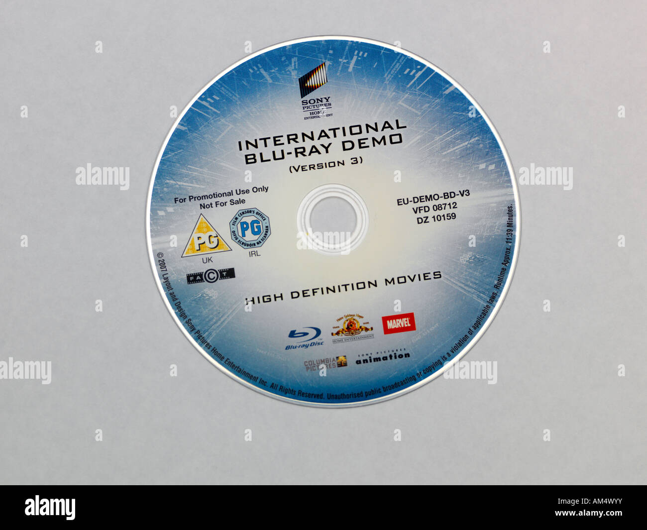 Blu Ray Demo Disc Showing the BD Label - Stock Image