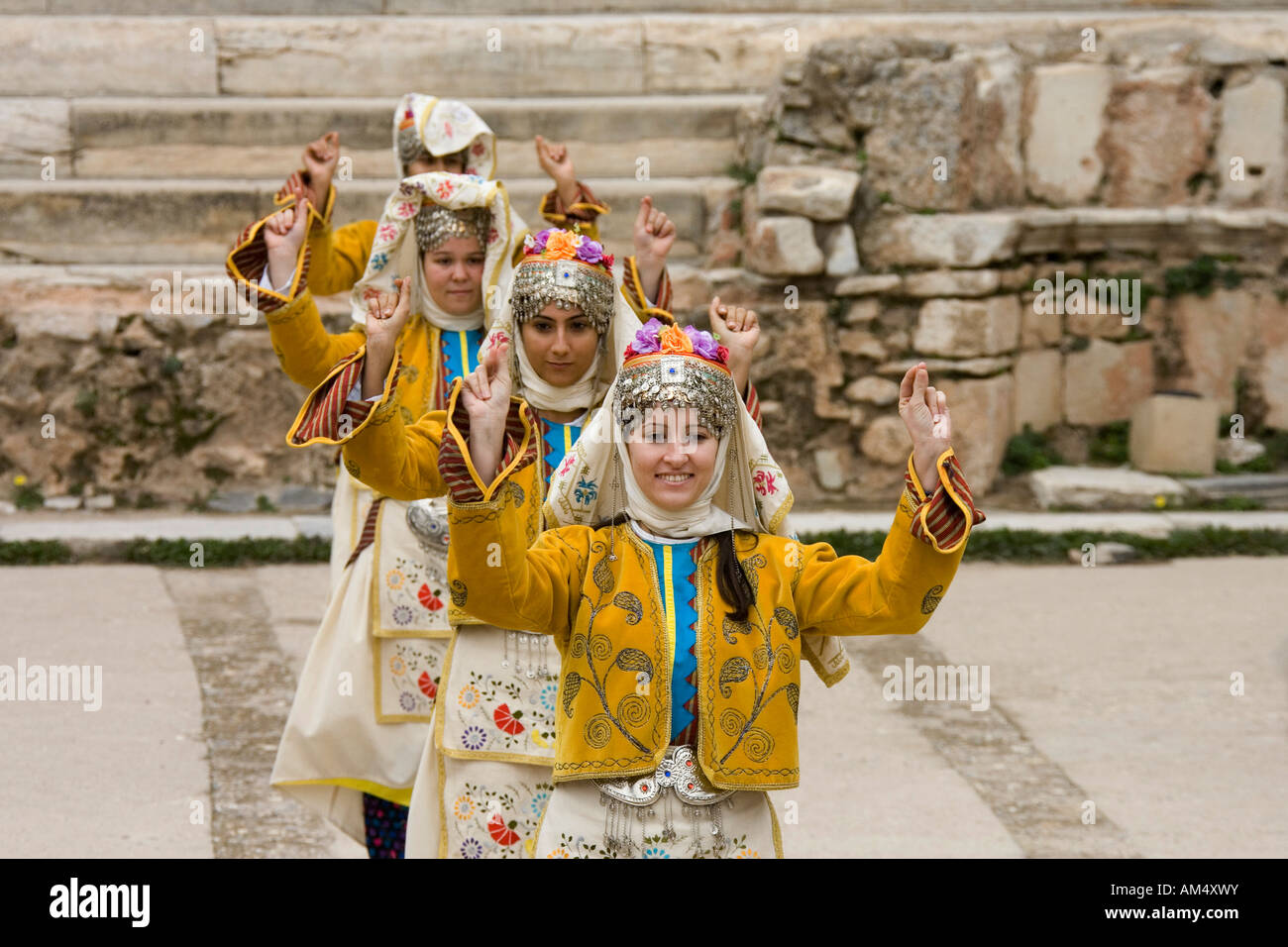 Traditional Turkish folk dance troupe - Stock Image