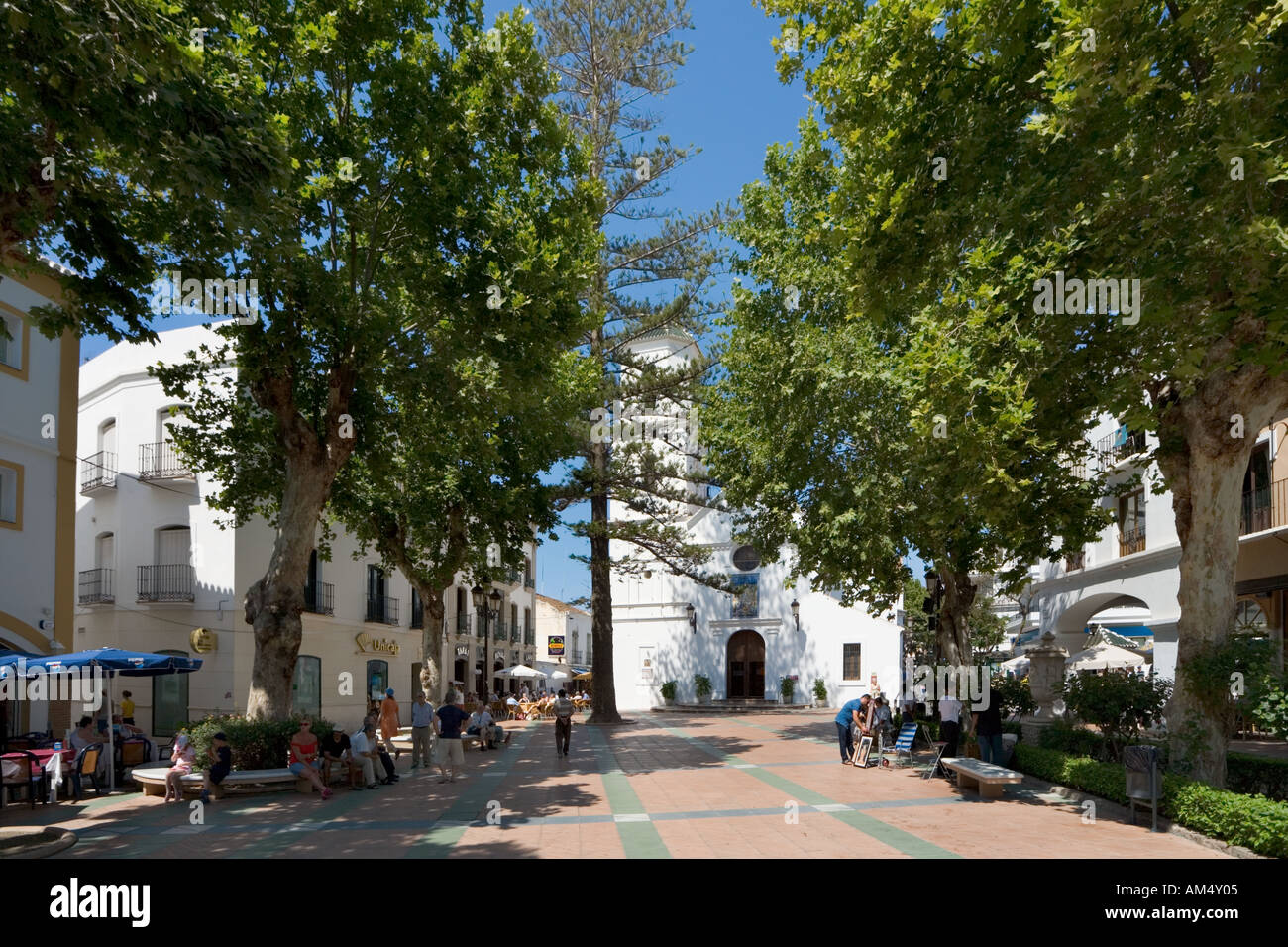 View from the Balcon de Europa towards the Church, Nerja, Costa del Sol, Andalucia, Spain - Stock Image