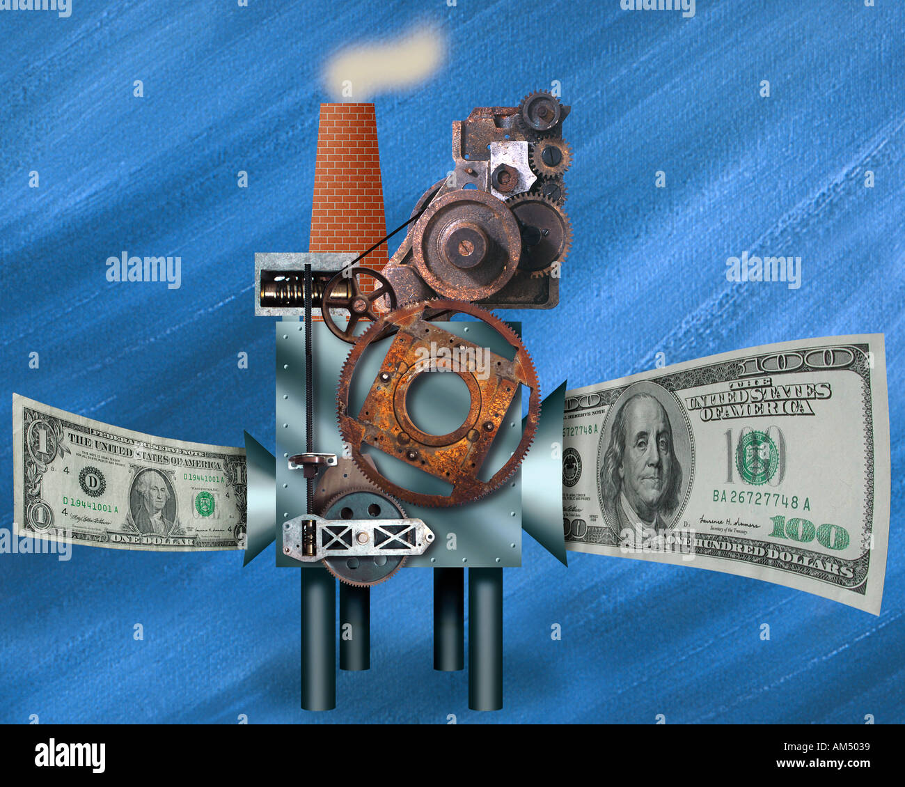 A whimsical Money Machine where money enters one side small and grows out the other side larger or bigger. - Stock Image
