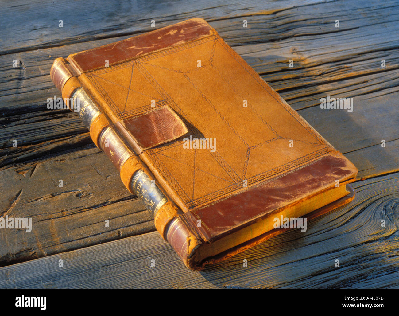 old leather covered journal or book - Stock Image