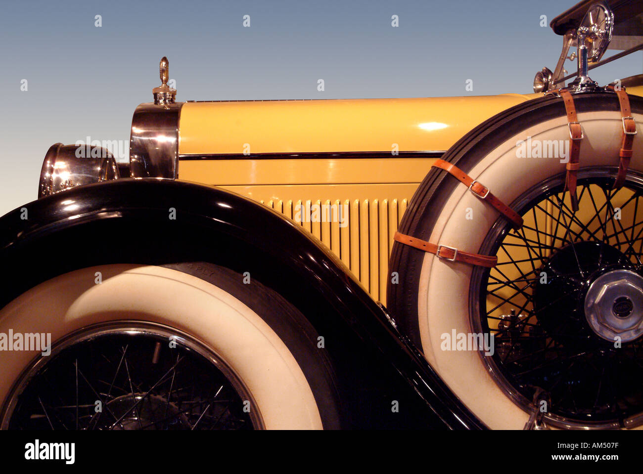 old antique yellow car detail - Stock Image