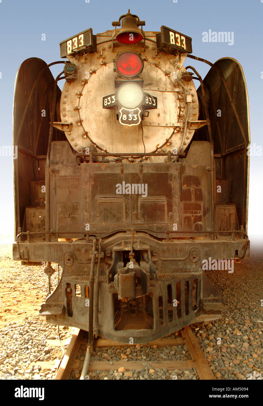 old antique steam train engine - Stock Image